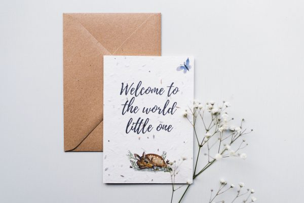 Plantable Wildflower Seeded Welcome to the World Card