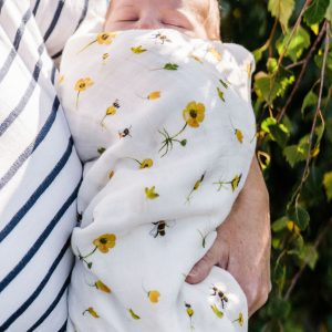 Buttercups Bumbles-Bamboo Organic GOT's Cotton Muslin Swaddle Blanket