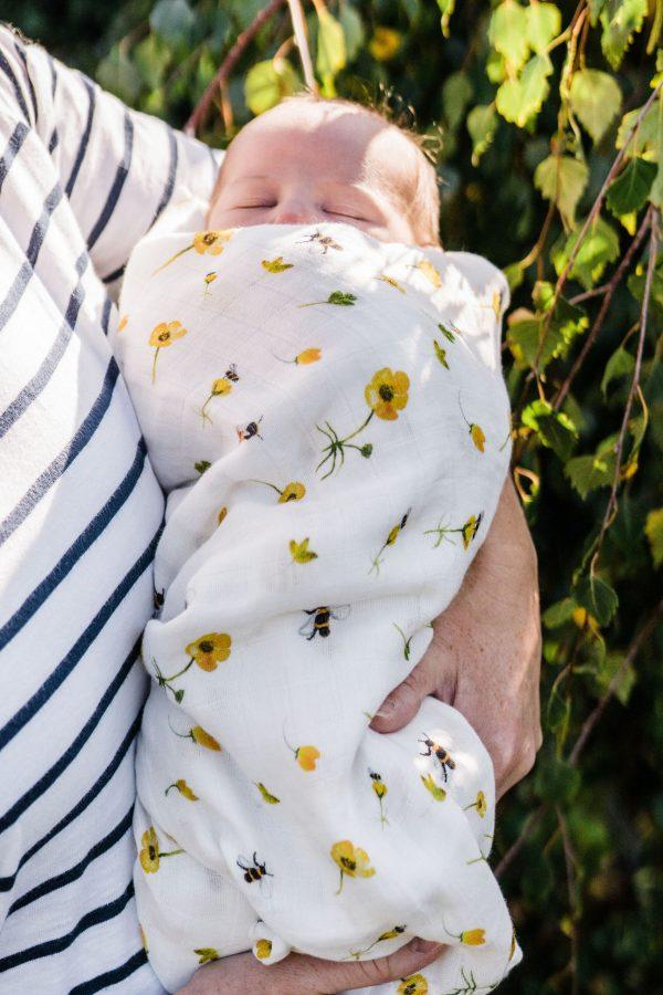 Buttercups Bumbles-Bamboo Organic GOT's Cotton Muslin Swaddle Blanket