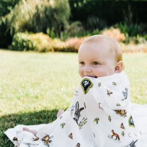 Woodland Friends - Bamboo and Organic GOT's Cotton Muslin Swaddle Blanket