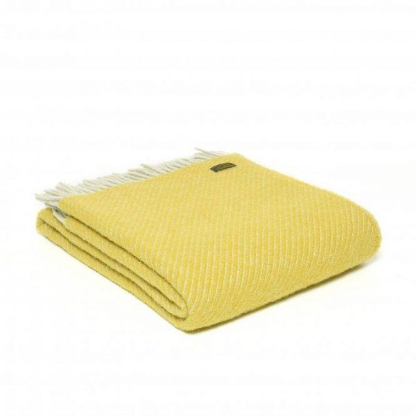 Pure New Wool Diagonal Stripe Throw - Yellow