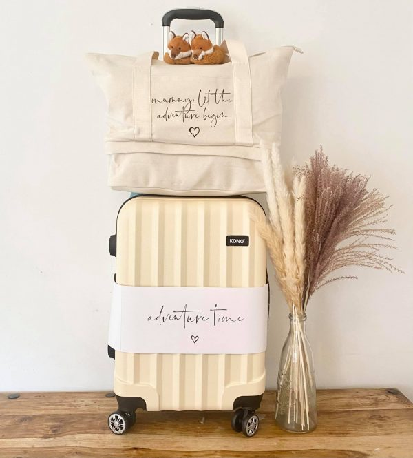 Suitcase & Mummy Let the Adventure Begin Canvas Bag